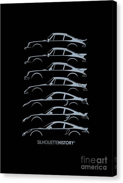 Boxers Canvas Print - Turbo Sports Car Silhouettehistory by Gabor Vida