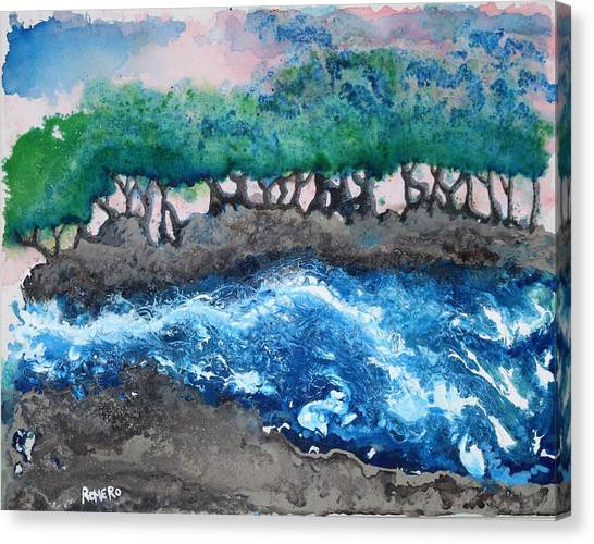 Canvas Print featuring the painting Turbulent Waters by Antonio Romero