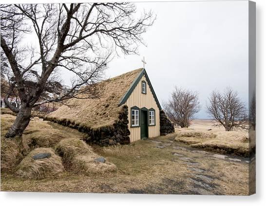 Turf Church At Hof In Iceland Canvas Print