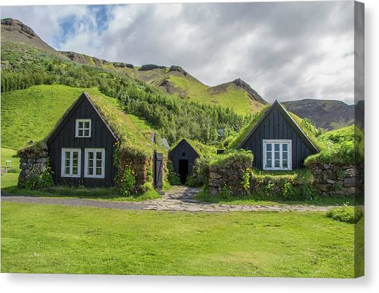 Turf Roof Houses And Shed, Skogar, Iceland Canvas Print