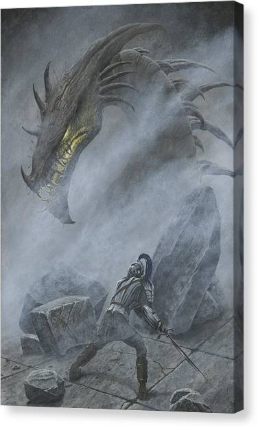 Canvas Print featuring the painting Turin Turambar Confronts Glaurung At The Ruin Of Nargothrond by Kip Rasmussen