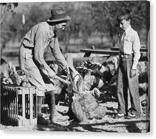 Turkey Dinner Canvas Print - Turkey Dinner Coming Up by Underwood Archives