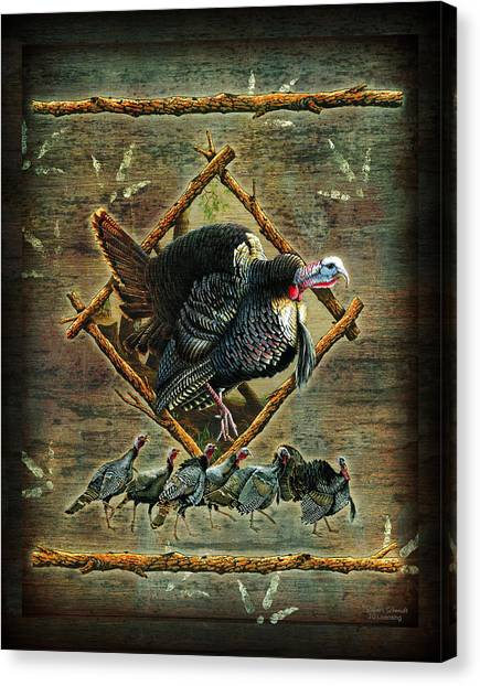 Turkeys Canvas Print - Turkey Lodge by JQ Licensing