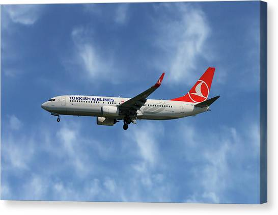 Airlines Canvas Print - Turkish Airlines Boeing 737-8f2 by Smart Aviation