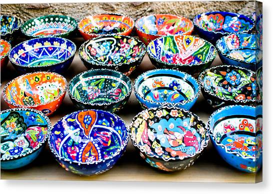 Ceramic Glazes Canvas Print - Turkish Bowls by Tom Gowanlock