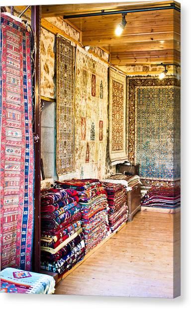 Fleas Canvas Print - Turkish Carpet Store by Tom Gowanlock
