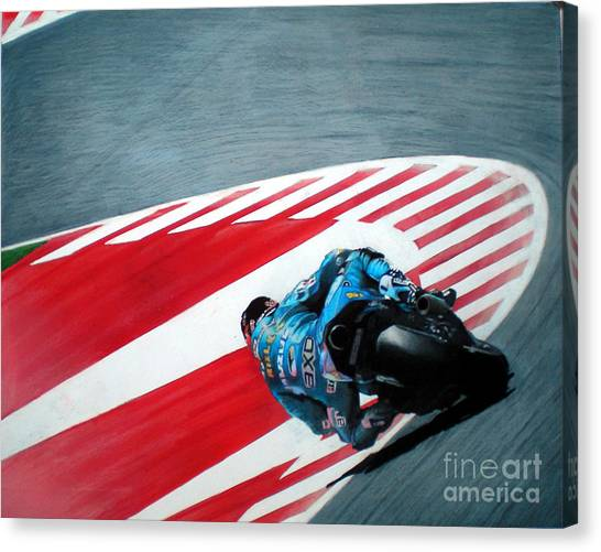 Pencil Drawing Motorcycle Canvas Print - turn 10 Barcelona by Raoul Alburg