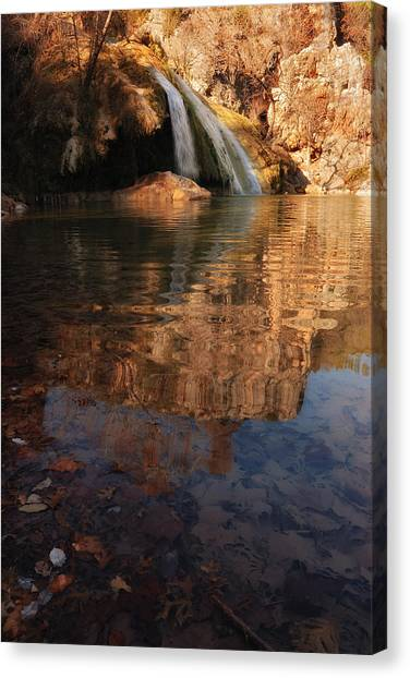 Turner Falls Autumn Reflections Canvas Print by Iris Greenwell