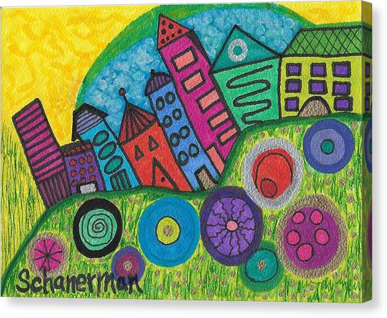 Turning Funky City On Its Ear Canvas Print