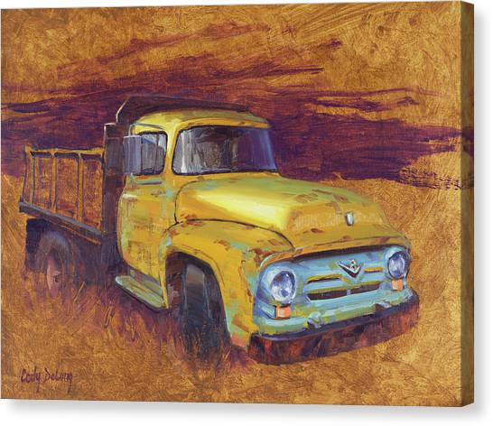 Dump Trucks Canvas Print - Turning Into The Light by Cody DeLong