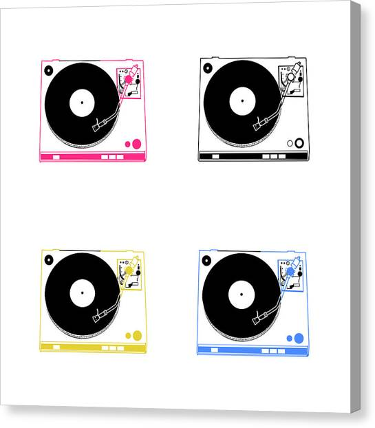 Vintage Polaroid Canvas Print - Turntable Pop Art by Bekim Art