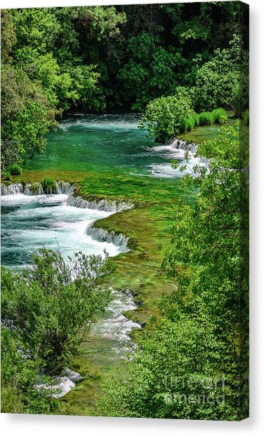 Turqouise Waterfalls Of Skradinski Buk At Krka National Park In Croatia Canvas Print