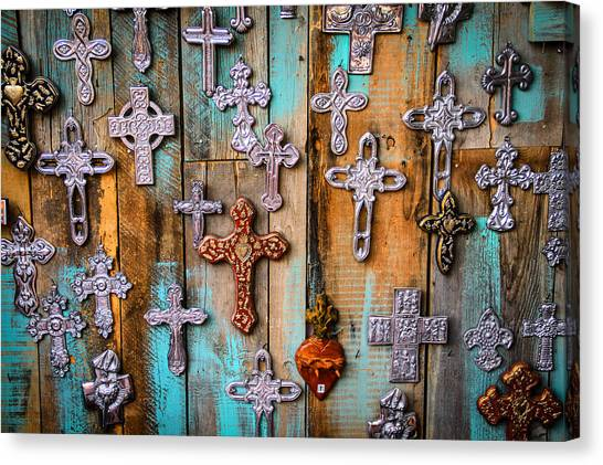 Turquoise And Crosses Canvas Print