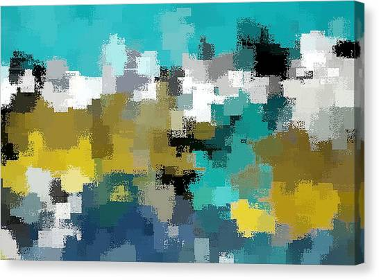 Turquoise And Gold Canvas Print