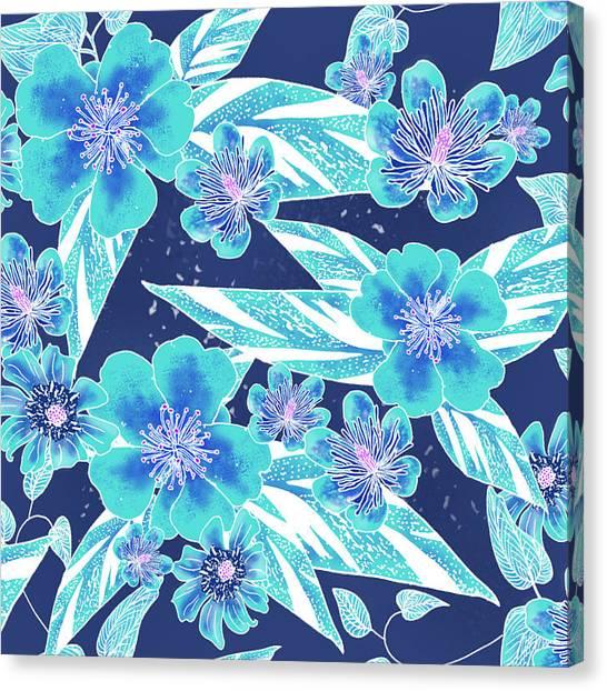 Turquoise Batik Tile 2 - Bidens Canvas Print