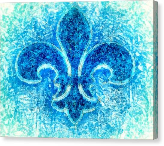 Turquoise Bleu Fleur De Lys Canvas Print