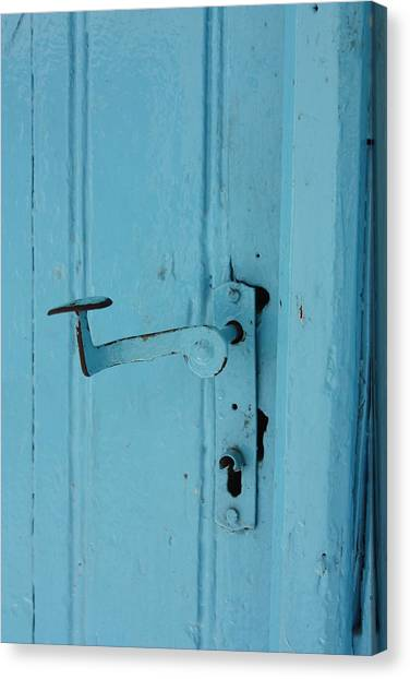 Turquoise Door 02 Canvas Print by Yvonne Ayoub