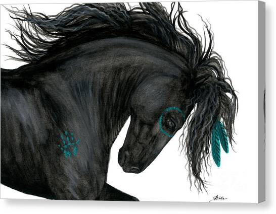 Black Stallion Canvas Print - Turquoise Dreamer Horse by AmyLyn Bihrle