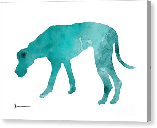 Great Danes Canvas Print - Turquoise Great Dane Watercolor Art Print Paitning by Joanna Szmerdt