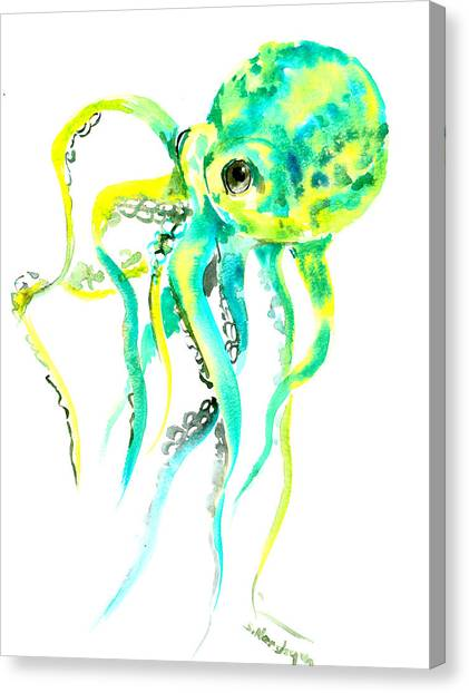 Octopus Canvas Print - Turquoise Green Octopus by Suren Nersisyan