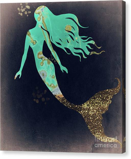 Mermaids Canvas Print - Turquoise Mermaid by Mindy Sommers