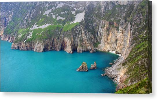 turquoise sea at Slieve League cliffs Ireland Canvas Print by Pierre Leclerc Photography