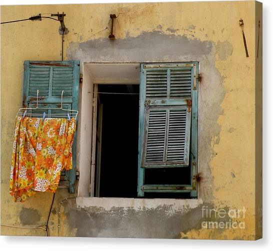 Turquoise Shuttered Window Canvas Print