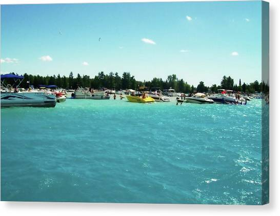 Turquoise Waters At The Torch Lake Sandbar Canvas Print