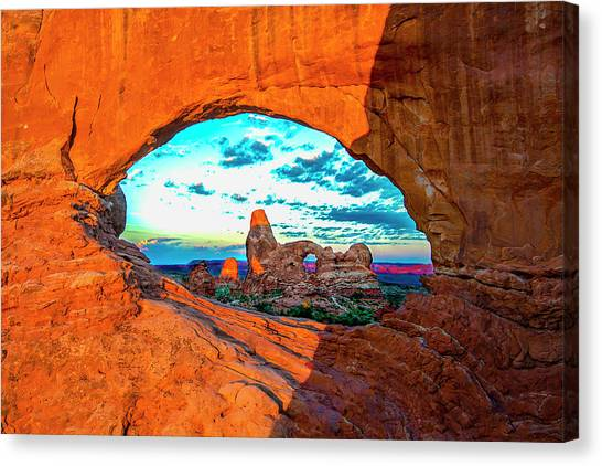 Canvas Print featuring the photograph Turret Arch Through Window by Norman Hall