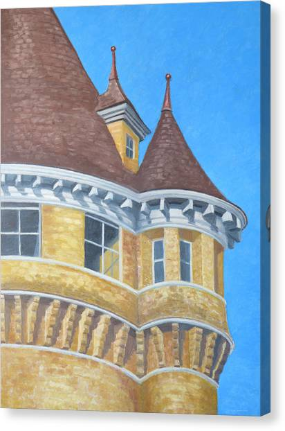 Canvas Print featuring the drawing Turrets Of Lawson Tower by Dominic White