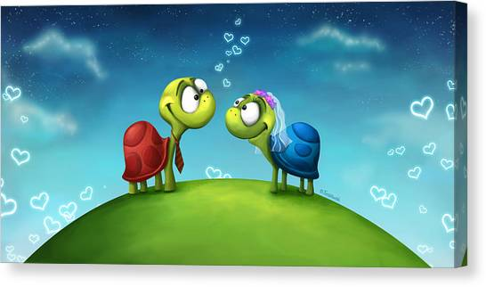 Tortoises Canvas Print - Turti And Turto by Tooshtoosh