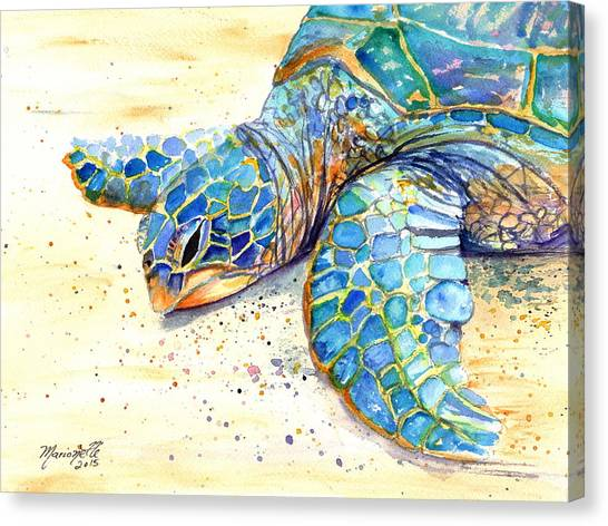 Turtles Canvas Print - Turtle At Poipu Beach 4 by Marionette Taboniar