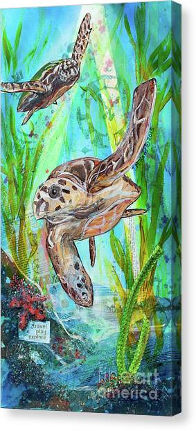 Canvas Print featuring the painting Turtle Cove by TM Gand
