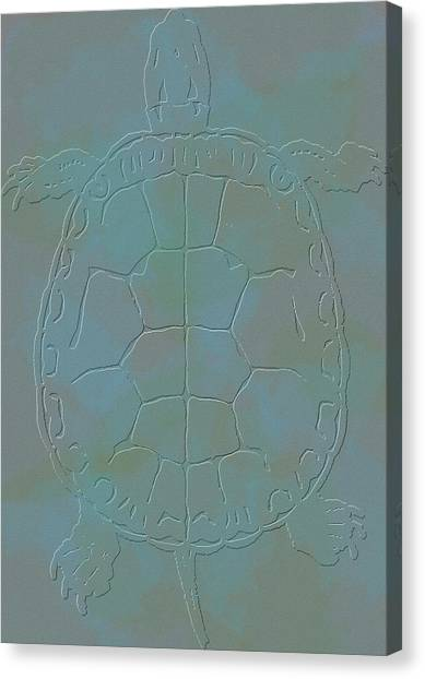 Snapping Turtles Canvas Print - Turtle Etching by Dan Sproul