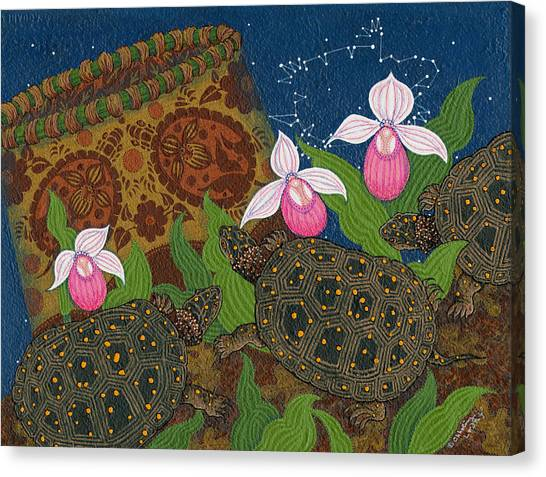 Canvas Print featuring the painting Turtle - Mihkinahk by Chholing Taha