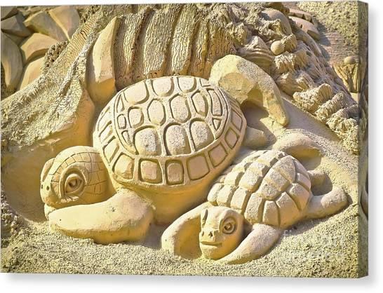 Turtle Sand Castle Sculpture On The Beach 999 Canvas Print