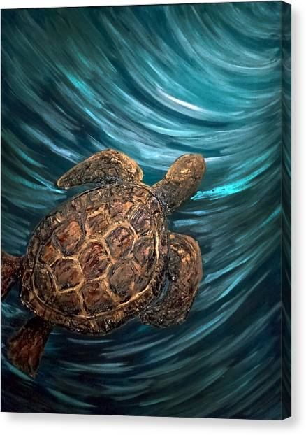 Turtle Wave Deep Blue Canvas Print