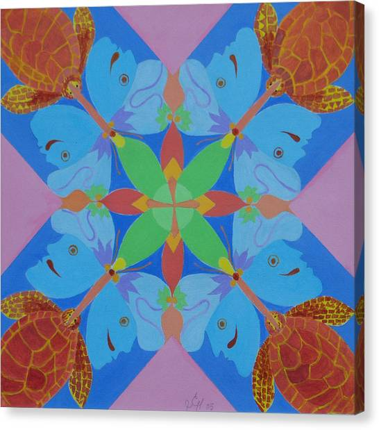 Turtles And Butterfly People Canvas Print by Seema  Gill