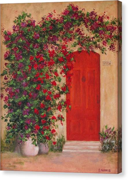 Canvas Print featuring the painting Tuscan Doorway by Sandra Norris & Sandra Norris Canvas Prints