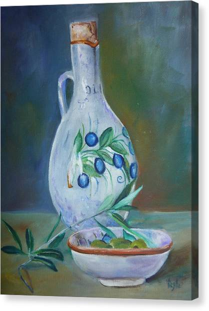 Tuscan Elements - Olive Oil With Olives Canvas Print by Virgilla Lammons