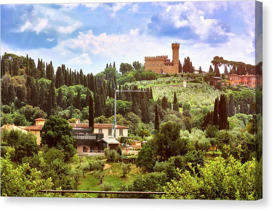Tuscan Fields And Old Castle In Florence Canvas Print