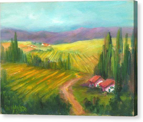 Tuscan Fields Canvas Print by Sally Seago