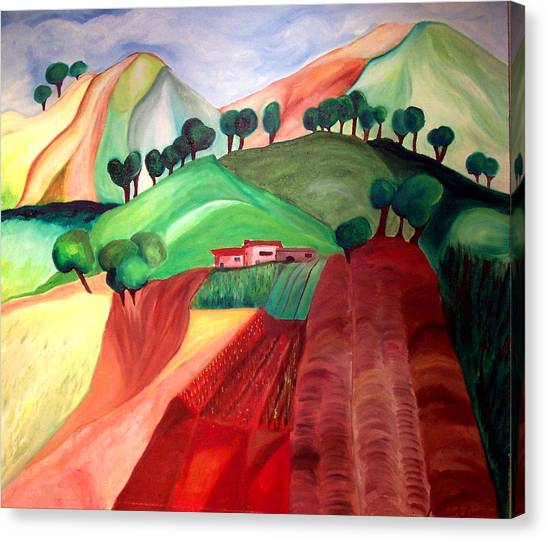 Tuscan Landscape Canvas Print by Patricia Arroyo