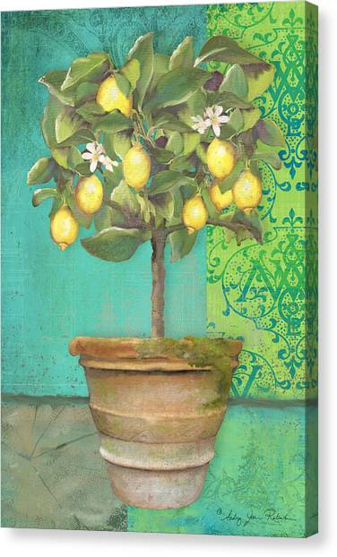 Tuscan Lemon Topiary - Damask Pattern 1 Canvas Print