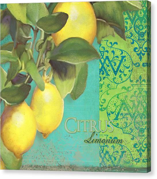 Lemons Canvas Print - Tuscan Lemon Tree - Citrus Limonum Damask by Audrey Jeanne Roberts