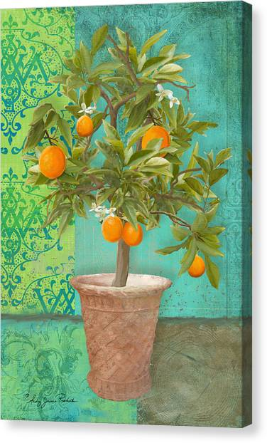 Orange Tree Canvas Print - Tuscan Orange Topiary - Damask Pattern 2 by Audrey Jeanne Roberts