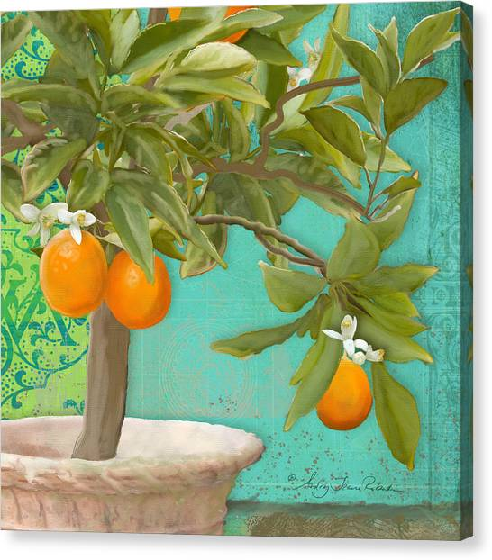 Orange Tree Canvas Print - Tuscan Orange Topiary - Damask Pattern 3 by Audrey Jeanne Roberts
