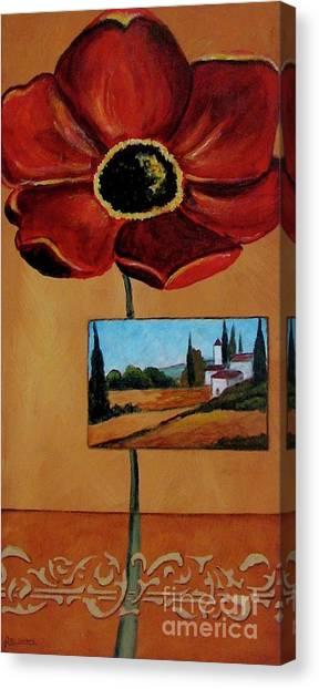 Tuscan Poppy Postcard Canvas Print