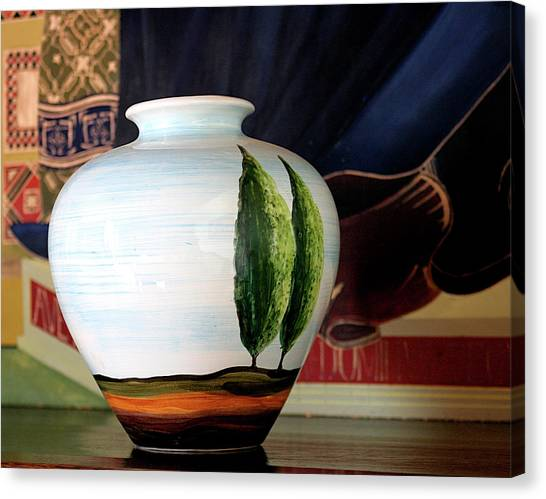 Tuscan Vase And Tapestry Canvas Print