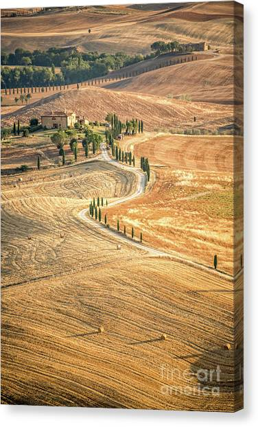Hay Bales Canvas Print - Tuscan View by Delphimages Photo Creations
